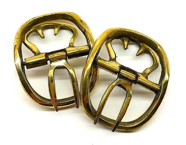 Shoe buckles, oval, vintage-look