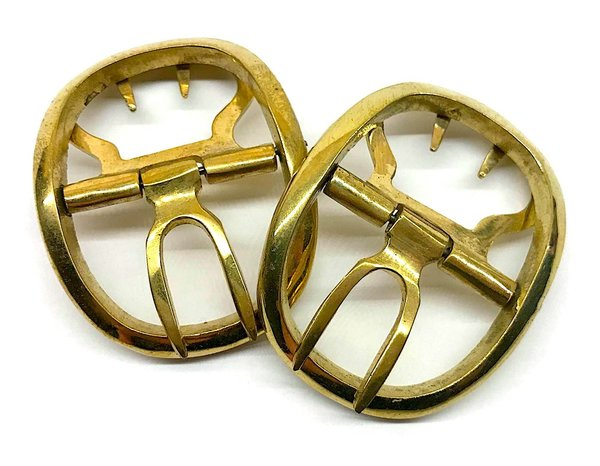 Shoe buckles, oval, colour gold